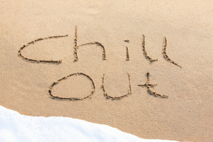 Chill out - written in the sand